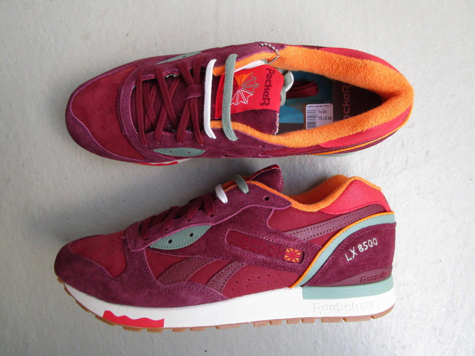 Packer Shoes X Reebok LX 8500 45 'Autumn' Maroon/Mulberry Red/Green
