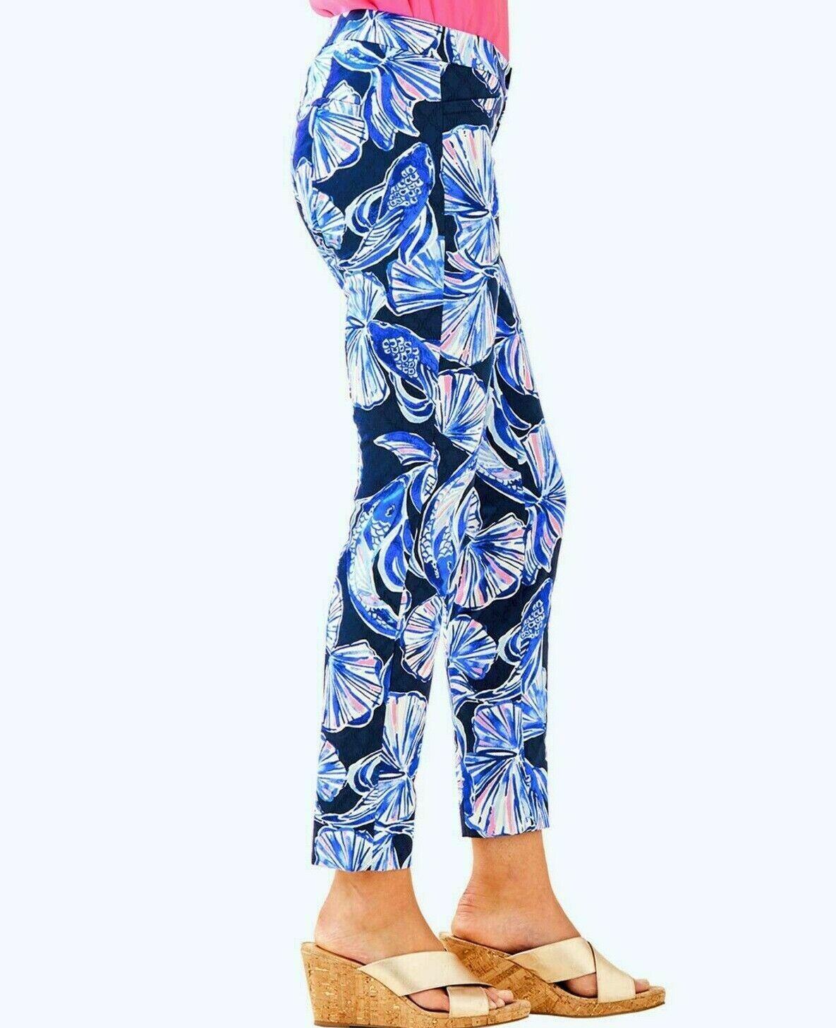 Neuf avec étiquette Lilly Pulitzer sz4 Kelly Skinny Cheville Pantalon stretch clair Marine rôle Lif