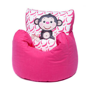 Superb Details About Pink Monkey Childrens Character Filled Beanbag Kids Bean Bag Chair Bedroom Pabps2019 Chair Design Images Pabps2019Com