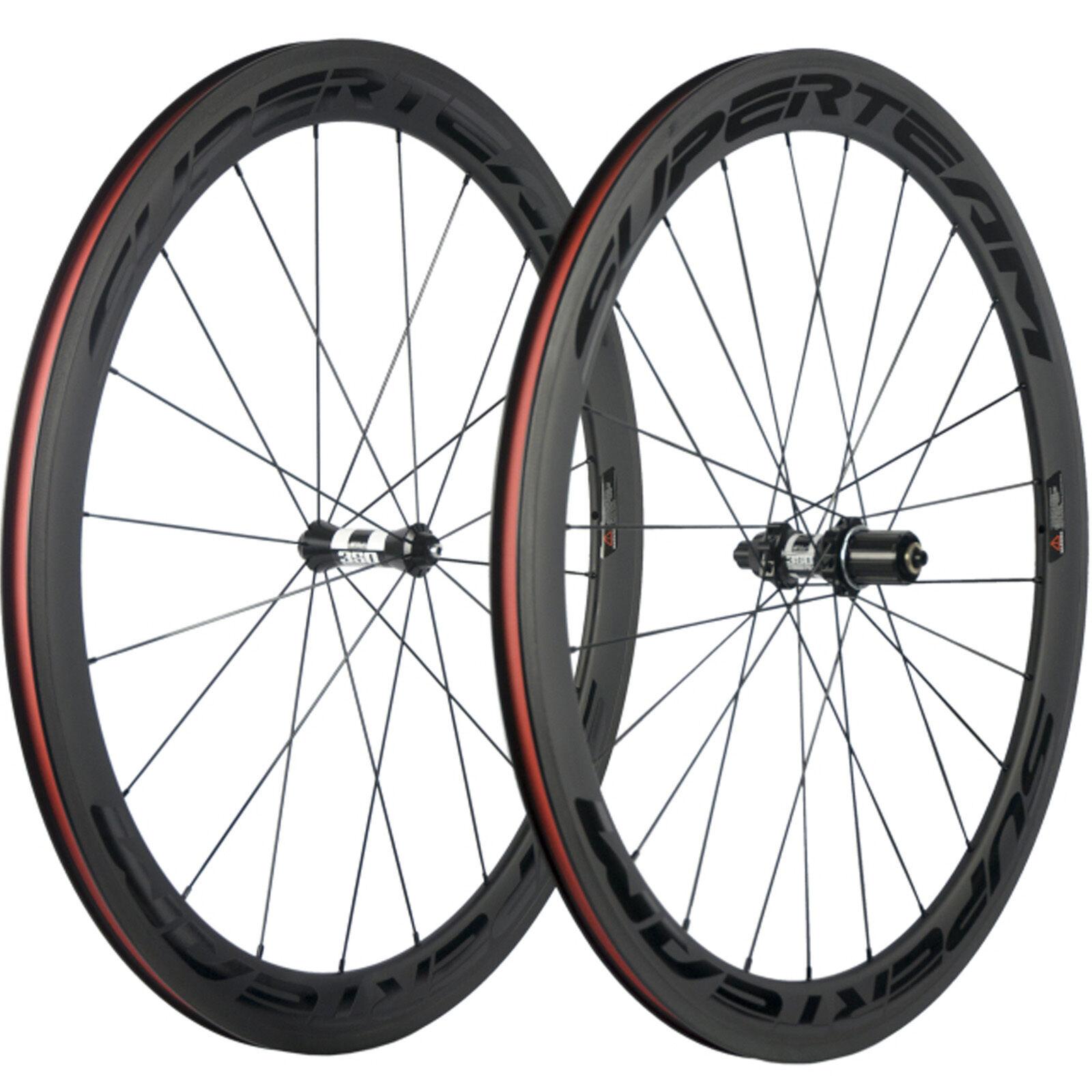 SUPERTEAM 50mm Clincher Carbon Road Bike Wheelset DT350  Hub Bicycle Carbon Wheel  save 35% - 70% off