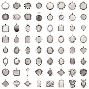 Tibetan-Alloy-Pendant-Cabochon-Setting-Bezels-Antique-Silver-Cameo-Charm-Blanks