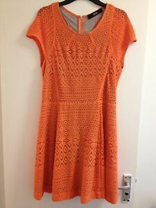 Lovely Ladies Cut25 By Yigal Azrouël Orange & Grey Cap Sleeve Short Dress-Size L