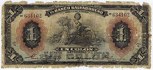 EL-SALVADOR-BANCO-SALVADORENO-1-COLON-1931-Pick-Spec-221c-WELL-USED-but-RARE