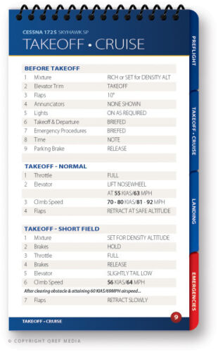 Cessna 172S Skyhawk Quick Reference Aircraft Checklist Book by Qref