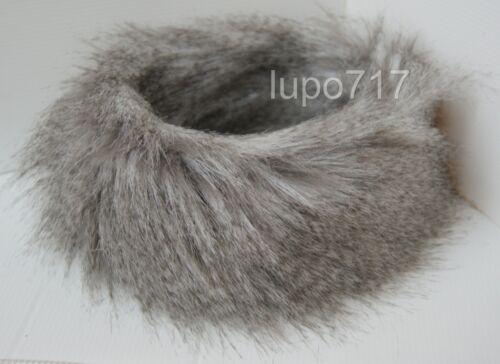 GREY MIX DOUBLE LAYER FLUFFY FAUX FUR HEADBAND HAT SKI EAR WARMER MUFFS NEW 61CM