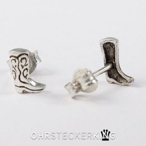 925-Silber Neu Ohrstecker Cowboystiefel Echt Silber
