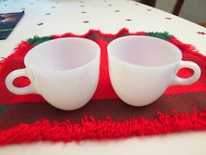 2 Vintage FIRE KING Oven Ware White Milk Glass Mug Coffee Cup C Handle