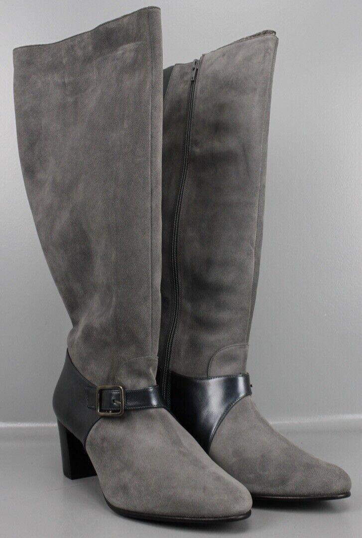 Zierschnalle E3 42 Hydrovelour mit Leder Stiefel Grau 42 Gr