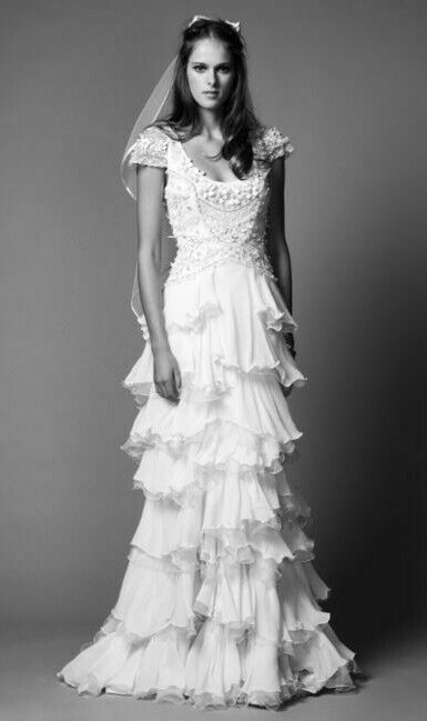 Temperley Long Elette Ruffle Layer Wedding Bridal Maxi Drape Designer Dress 12