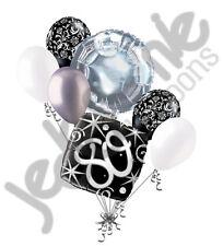 7 pc 80th Elegant Happy Birthday Sparkles Balloon Bouquet Black Damask Silver