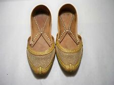 Women's Moroccan Traditional Slippers Leather Gold Handmade Size 4 M US