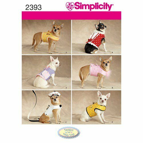 Simplicity 2393 Dog Clothes Pattern to fit Dinky Dogs 1 to 8 lbs.