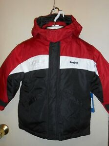 f97b44156 Details about Reebok Boys 2-in-1 Hooded Winter Jacket Black & Red S/4 NWT
