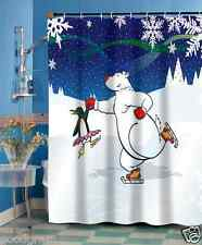 Polar Bear & Penguin Ice Dancers Christmas Fabric Shower Curtain