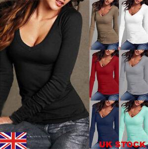 UK-Women-Long-Sleeve-Casual-T-Shirt-Ladies-V-neck-Slim-Tee-Tops-Blouse-Size-6-18