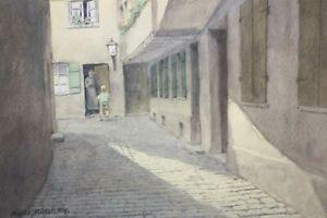 Gustav-Mueller-Aquarell-Sonnenstrahl-im-Ritterhof