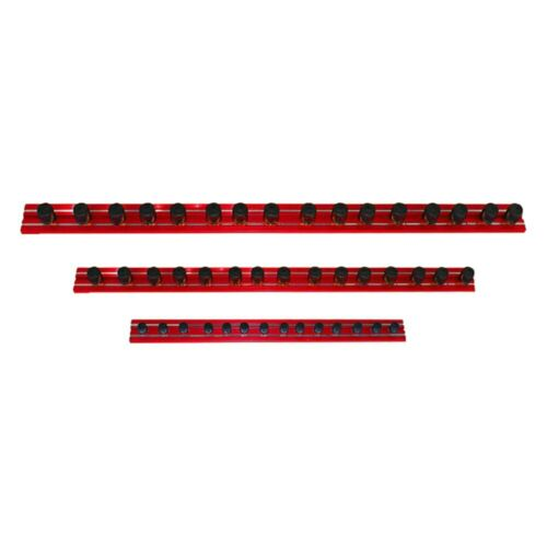 """VIM Tools Magrail TL 1//4/"""" Drive 12/"""" Red Magnetic Socket Rail w 20 Clips"""