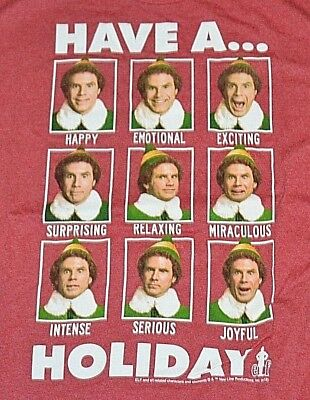 ELF Holiday Christmas T-Shirt Licensed RED Buddy the Elf SMILING/'S MY FAVORITE!