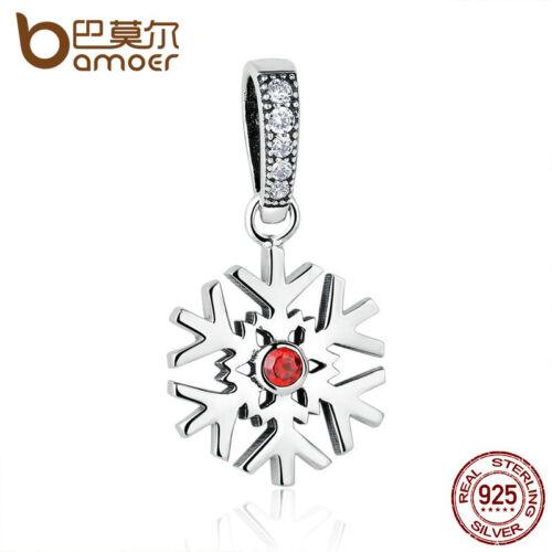 Bamoer auténtico S925 plata encanto Fit Pulseras De Navidad Copo de Nieve Colgante