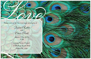 50-100-Peacock-FEATHER-5X7-WEDDING-Personalized-Invitations-GREEN-Custom