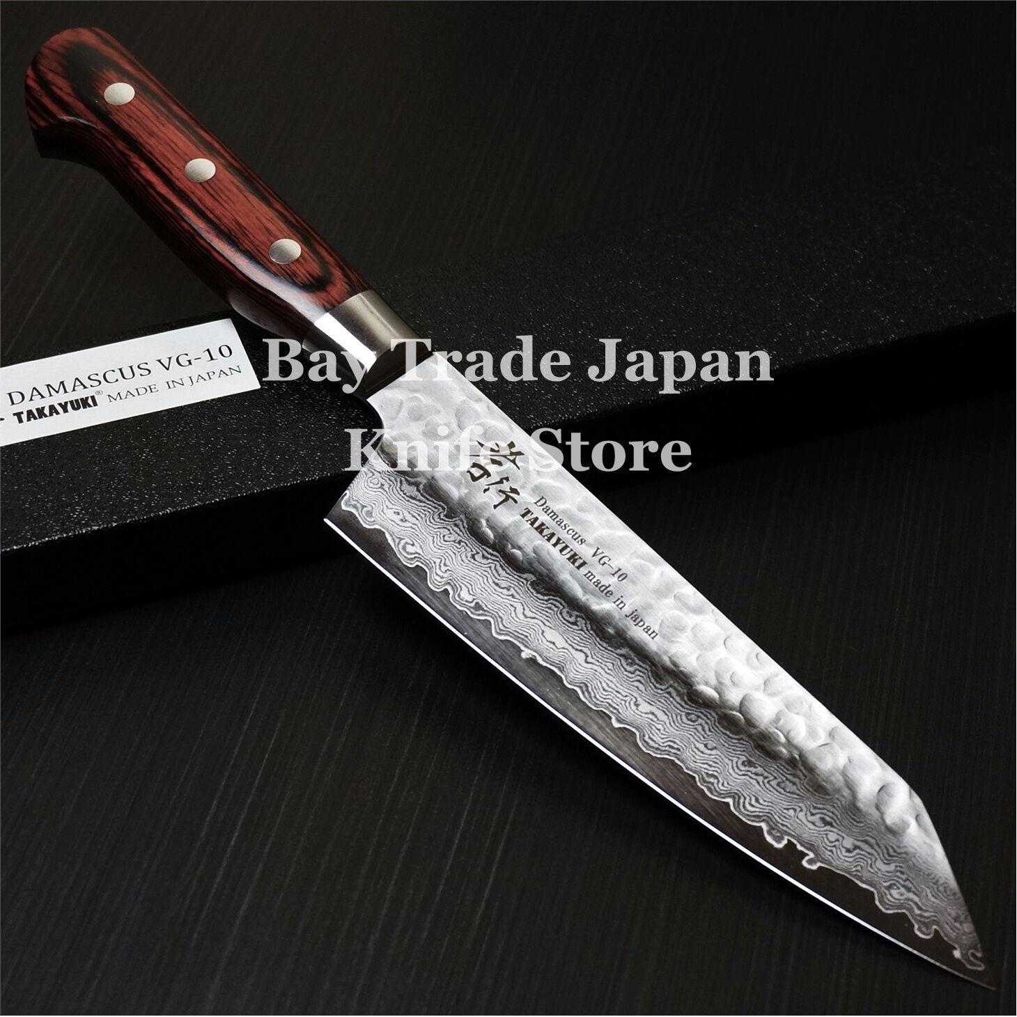 Santoku Knife: Japanese Sakai Takayuki Hammered Damascus VG10 Kengata