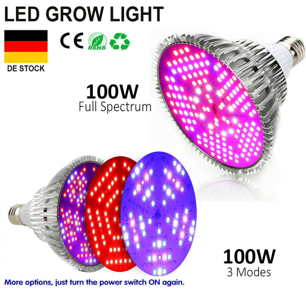 100W E27 LED Plant Grow Light Pflanzlampe Vollspektrum GemüseBlaume Pflanzenlicht
