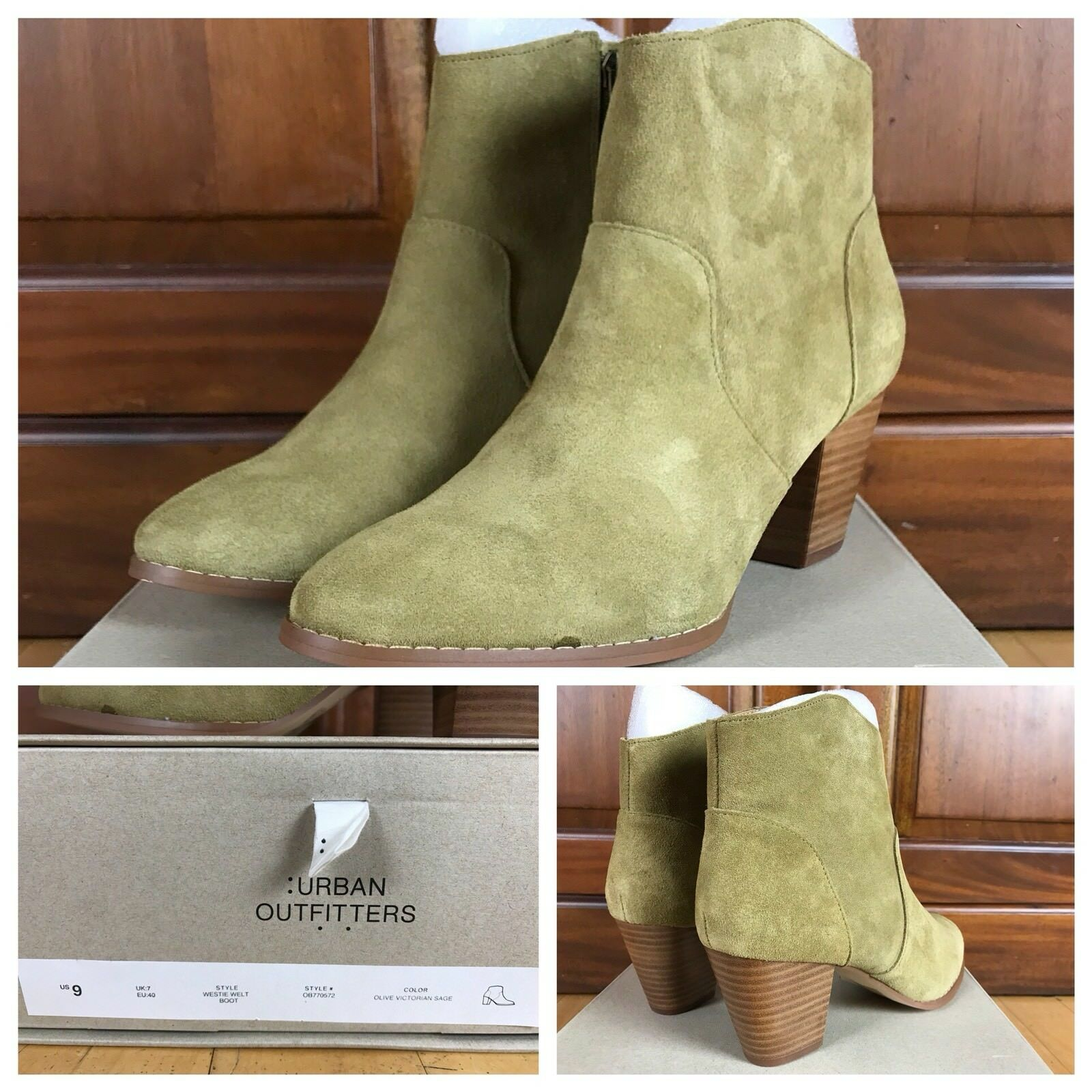 Urban Outfitters Westie Welt Sage Green Suede Zippered Heel Ankle Boots SZ 9