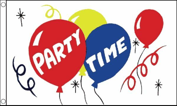 Party Time Small Flag 3Ft X 2Ft Birthday Celebration Balloon Banner With Eyelets