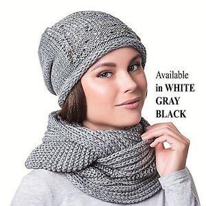 993cf459940 Women Girl Winter Warm Crochet Knit Hat Beanie Cap Scarf Set Pom Pom ...