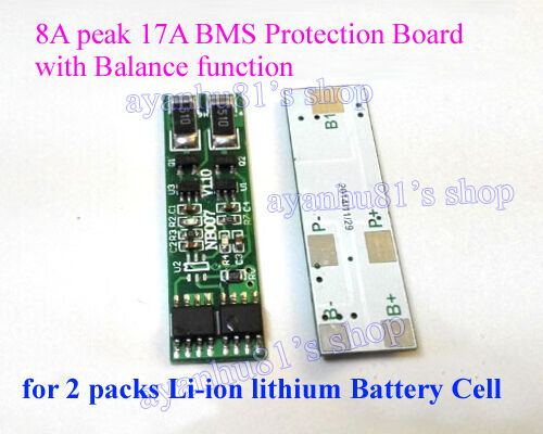 8A BMS Protection Board w/ Balance f 2 packs 3.7 4.2V 18650 lithium Battery Cell