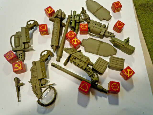 Dust Tactics Soviet Alternate Arms for a small Russian Mech and dice set