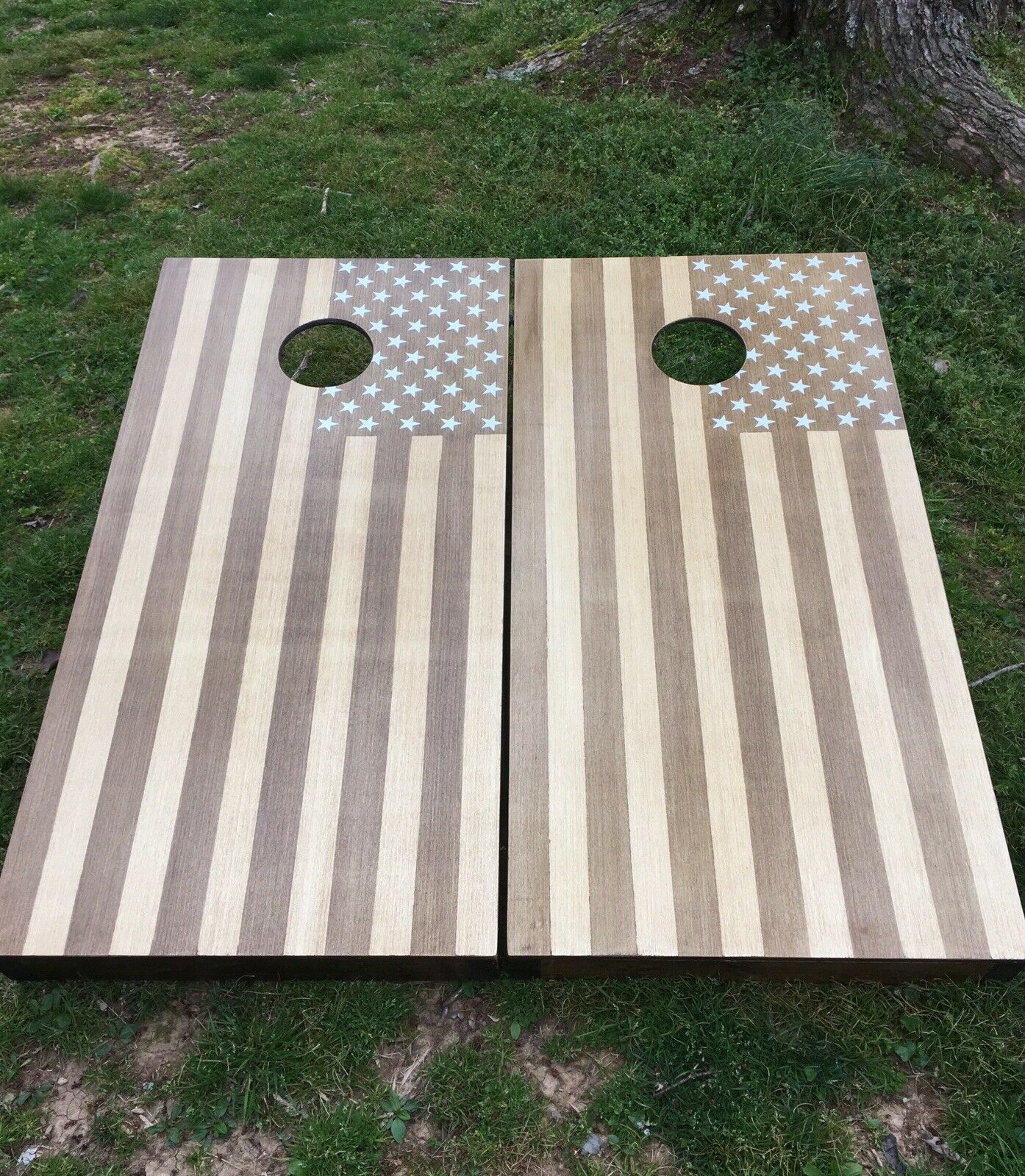American flag Cornhole Boards Stained