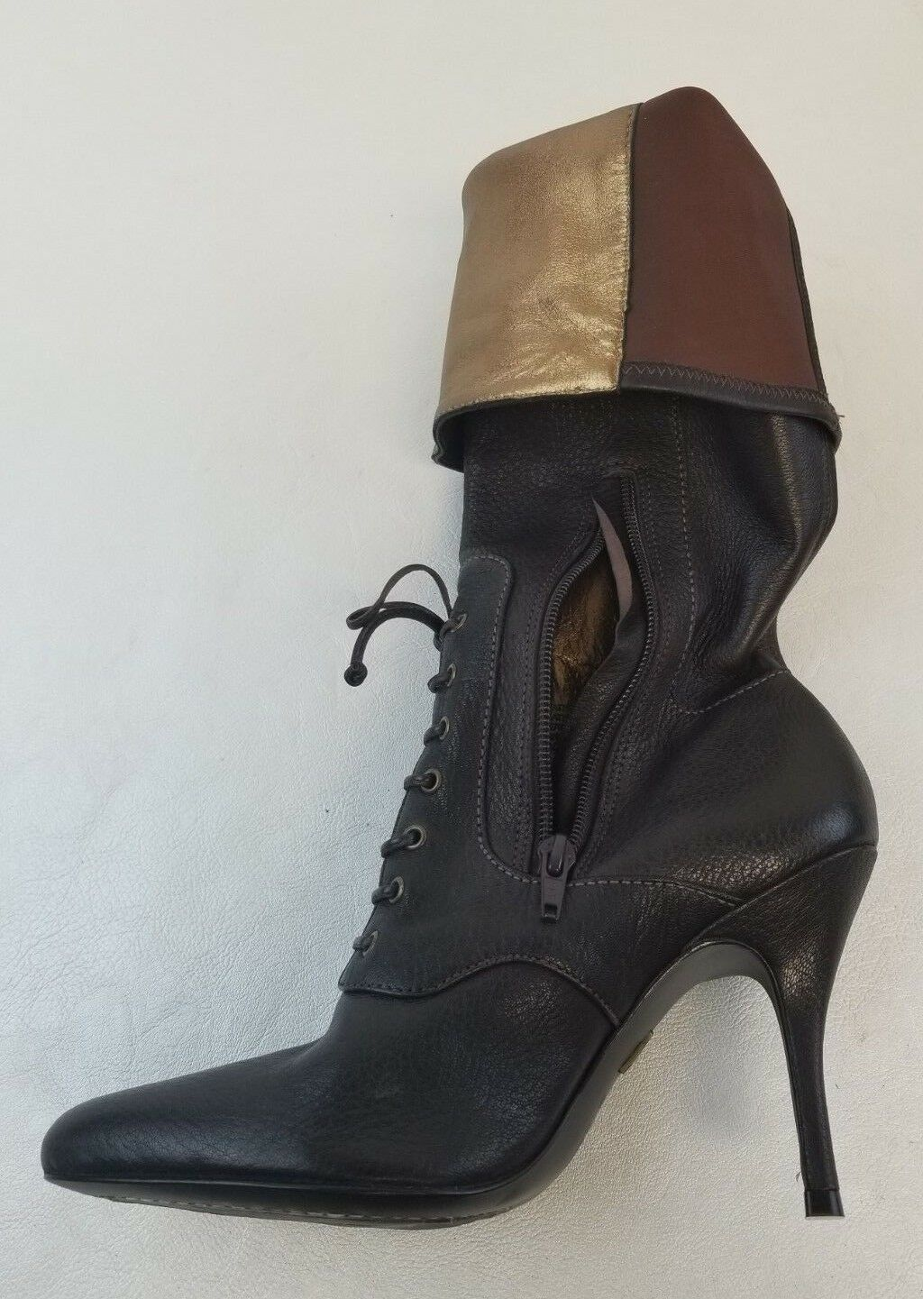 J. Vincent Damenschuhe Palace Mid Calf Stiefel Zip Pointy Toe Damenschuhe Vincent Braun Leder Lace Up 7M 73fdd8