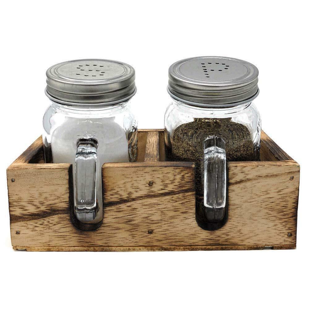 Blue Mason Jar Salt Pepper Shakers