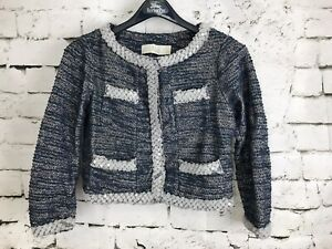 Anthropologie-ISANI-Massey-Jacket-Tweed-with-Beaded-Trim-Blue-Size-Small