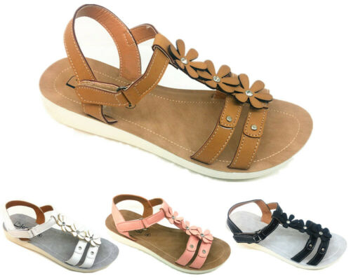 New Womens Ladies Low Wedge T-Bar Strappy Diamante Pearl Comfy Sandals Size 3-8