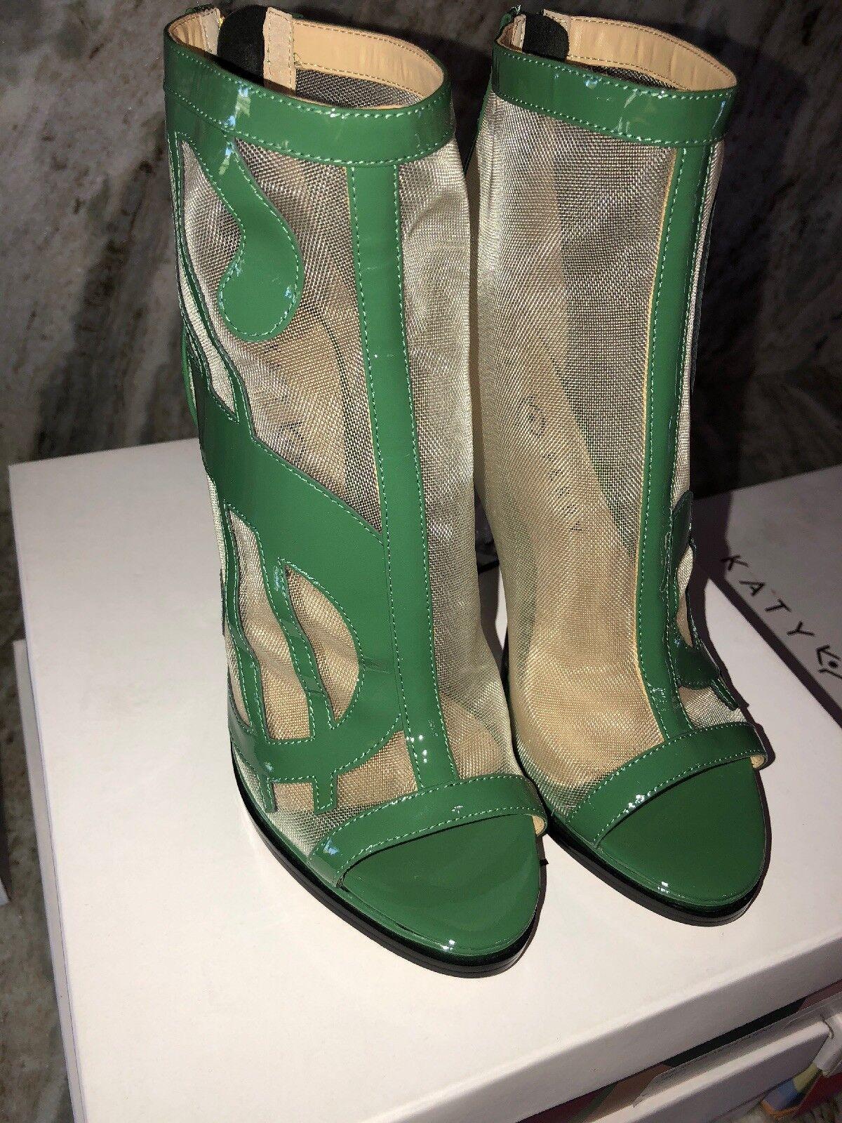 "Katy Perry The Richie Mesh Patent Heels Grün Größe 7.5M New In Box 4.25"" Heel"