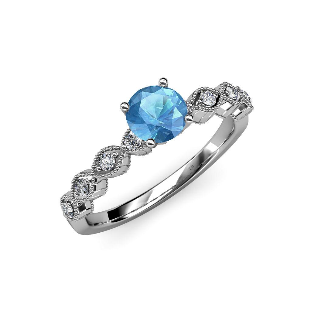 bluee Topaz & Diamond Milgrain Work Twisted Solitaire Plus Ring 14K gold JP 57119
