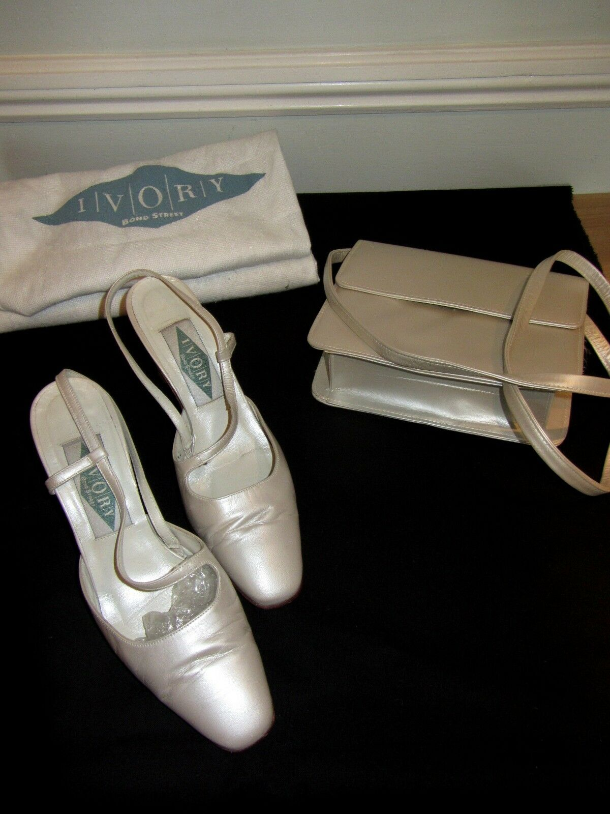 **IVORY of BOND STREET**  PEARL Wedding SHOES & MATCHING BAG Wedding PEARL Slingback SIZE 6 c76c13