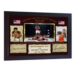 Boxer Muhammad Ali Sonny Liston 2 signed autograph Boxing photo print Framed