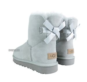 8c11a979d73 Details about UGG Bailey Bow Mini II Grey Violet Suede Fur Boots Womens  Size 9 *NIB*