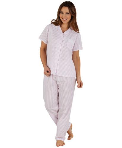 Ladies Pyjamas Slenderella Seersucker Stripe Lace Trim Button Up Top Bottoms Set