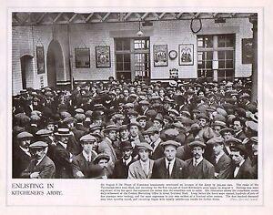 1914 Imprimé Première Guerre Mondiale ~ Enlisting Recrutement Bureau Armée Bonne RM3MM4V7-09155326-867387425