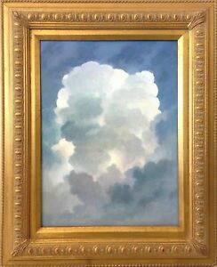 Original-oil-painting-on-canvas-Blue-Sky-white-clouds-Tranquil-Gold-Gilt-frame