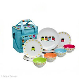 Image is loading C&er-Smiles-VW-12pc-Melamine-Dinner-Set-Dinnerware-  sc 1 st  eBay & Camper Smiles VW 12pc Melamine Dinner Set.Dinnerware Caravan ...