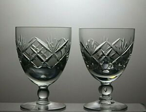 ROYAL-BRIERLEY-CRYSTAL-BRAEMAR-CUT-7-OZ-WINE-GLASSES-SET-OF-2-4-1-3-034-TALL