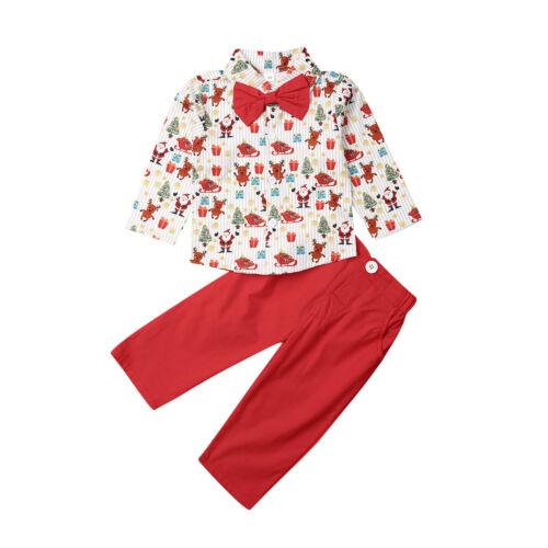 UK Christmas Toddler Kids Baby Boy Clothes Cartoon Tops Pants Formal Outfits Set