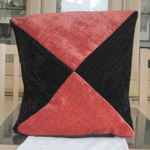 BLACK AND RUST DIAGONAL DESIGN CHENILLE CUSHION COVER