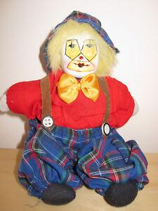 Puppe Porzellanpuppe Clown / karierte Hose Mütze rotes Oberteil 20 cm - Sondheim, Deutschland - Puppe Porzellanpuppe Clown / karierte Hose Mütze rotes Oberteil 20 cm - Sondheim, Deutschland