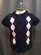 Gymboree New York Girl Blue Pink Preppy Argyle Short Sleeve Cardigan Sweater 5/6